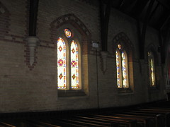 Two Non-Figurative Stained Glass Windows and the John Kane Smith Memorial Window by Ferguson and Urie along the Northern Aisle of the Former Saint George's Presbyterian Church - Chapel Street, St Kilda East (raaen99) Tags: fergusonandurie fergusonanduriestainedglass fergusonurie fergusonuriestainedglass floral flower blue red green yellow glass victorianstainedglass quarryglass leadlight leadlightglass diaperpattern pattern nineteenthcenturystainedglass 1880 1880s floralpattern saintgeorgespresbyterianchurch saintgeorgesunitingchurch saintgeorgeschurch saintgeorgesstkildaeast saintgeorgeseaststkilda stgeorgespresbyterianchurch stgeorgesunitingchurch stgeorgeschurch stgeorgesstkildaeast stgeorgeseaststkilda unitingchurch presbyterianchurch presbyterian eaststkilda stkildaeast chapelstreet chapelst church placeofworship religion religiousbuilding religious melbourne nineteenthcentury victorian victoriana 19thcentury victoria australia gothicrevivalarchitecture gothicarchitecture gothicrevivalchurch gothicchurch gothicbuilding gothicrevivalbuilding ecclesiastical gothicrevivalstyle gothicstyle architecturallydesigned albertpurchas architecture building window stainedglass stainedglasswindow lancet lancetwindow star starpattern detail