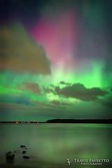 Auroras over Pointe aux Pins (tfavretto) Tags: auroraborealis bay glow horizon lake night northernlights reflection saultstemarie sky stars sunspot water wave spaceweather marksbay