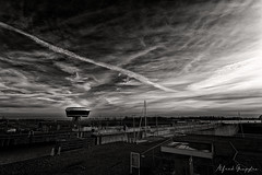 Space Ships? (Alfred Grupstra) Tags: blackandwhite cloudsky sky nature outdoors storm industry landscape cloudscape nopeople water builtstructure overcast environment dramaticsky fuelandpowergeneration monochrome lock