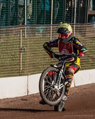 Scott Nicholls (kimbenson45) Tags: leicester scottnicholls action bike black blue colorful colors colourful colours competition competitor fence helmet motion motorbike motorcycle motorsport movement outdoors race racing red rider spectators speedway sport track wheelie white winner yellow