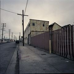 Corrugated (ADMurr) Tags: la eastside fence pole overcast day gutter hasselblad swc 38mm zeiss fuji 400 dba325