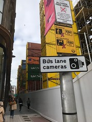 Castle Street Walkway on day of opening (John D McDonald) Tags: iphone iphone7plus appleiphone appleiphone7plus belfast northernireland ni ulster geotagged bankbuildings castlestreet castlestreetbelfast yellow containers yellowcontainers shippingcontainers