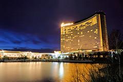 Vegas Baby...in Boston! (MRD Images) Tags: encore boston ma massachusetts casino night spring canon eos city reflection building architecture nightphotography newengland mass everett mysticriver river bluehour