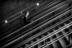 Up (*Chris van Dolleweerd*) Tags: street streetphotography urban architecture stairs man person mono chrisvandolleweerd lines