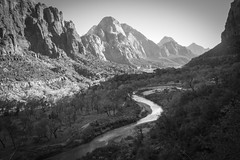 Valley View (Thomas James Caldwell) Tags: zion national park virgin river utah usa america outdoors landscape southwestern nature geology light shadows outdoor mountain black white bw shadow ansel adams waterway