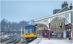 142001. Hellifield. (Alan Burkwood) Tags: hellifield northern dmu 142001 diesel passenger train