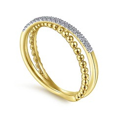 Split Shank Ring Features Strands Of Sparkling .09Ct Pave Diamonds And Overlapping Beaded 14k Yellow Gold (diamondanddesign) Tags: splitshankringfeaturesstrandsofsparkling09ctpavediamondsandoverlappingbeaded14kyellowgold lr51463y45jj gabriel ny gaby rings bujukan 009 ct fashion diamond 14k yellow gold quarter