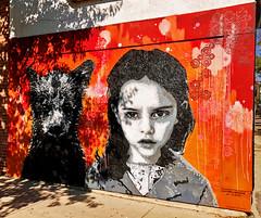 A Girl and Her Bear by PipSqueak (wiredforlego) Tags: graffiti mural streetart urbanart aerosolart publicart chicago illinois ord stencil pipsqueak orange