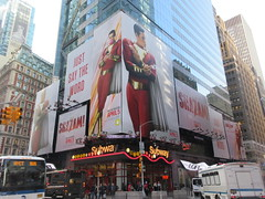 Shazam The Big Red Cheese Billboard 42nd St NYC 3729 (Brechtbug) Tags: shazam billboard 42nd street new captain marvel the big red cheese poster ad nyc 2019 times square movie billboards york city work working worker paint painting advertisement dc comic comics hero superhero alien dark knight bat adventure national periodicals publication book character near broadway shield s insignia blue forty second st fortysecond 03142019 lightning flight flying march