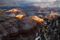 Grand Light (pdxsafariguy) Tags: arizona winter canyon snow nature landscape rock usa travel scenic cliff erosion southwest desert geology sunrise cold clouds grandcanyon nationalpark fog mist usnationalpark shadows tomschwabel