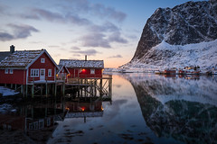 Quiet Light (Hilton Chen) Tags: fjord lofoten norway reine valen dawn fishingcabins landscape mountain quietlight red reflection rorbuer sunrise twilight winter
