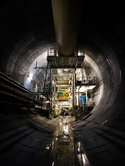 Tunnel Vision (MAKER Photography) Tags: tunnel concrete pipe water wf wayss und freytag marti tunnelbau drill stairs metal shaft switzerland schweiz