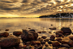 Calm Sunset Over Husøy (Kurt Evensen) Tags: norway sea sunset calm reflection winter husøy nature water tønsberg sky seascape rockyshore weather vestfold shore