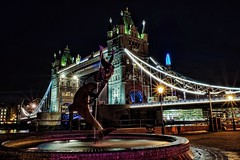 Girl With Dolphin (Douguerreotype) Tags: london uk bridge dark statue british lights architecture city britain night gb urban england