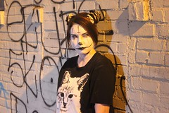 Cat lady (El Cheech) Tags: streetshoot streetmeet themaskedones halloween photomeetup photoshoot nightshoot tftila tfti photomeet catlady makeup downtownla downtownlosangeles downtown la losangeles alley model costume clown cat bricks brickwall tagging graffiti graffitiart