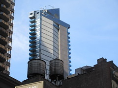 Too Tall Skinny Building With Balconies 3851 (Brechtbug) Tags: too tall skinny building with light clouds above 8th avenue nyc 03142019 new york city pencil tower architecture art buildings towers balcony 2019 near 48th street midtown manhattan penthouse roof top rooftop march