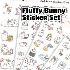 Bunny Sticker Set, Planner Girl Stickers, Character Stickers, Erin Condren, Live Planner, Functional Stickers FB085 by EmelysPlannerShop (emelysplannershop.com) Tags: planner stickers icon accessories functional daily agenda organizer live emelysplannershop