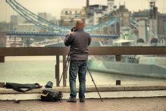 Vantage Point (Croydon Clicker) Tags: photographer camera tripod gear barrier fence platform view towerbridge hmsbelfast thames river water bridge london