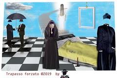 TRAPASSO FORZATO (ADRIANO ART FOR PASSION) Tags: surrealismo accabbadora sardegna ispirazione trapasso fotomontaggio photoshop uominiconbombetta prete sumazzolu safimminaaccabadora tradizione cultura culturadellasardegna ombrello pioggia nuvoletta totalphotoshop