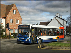 36155, Bilton (Jason 87030) Tags: 36155 kx60dpv stagecoach midlands rugby george bilton suburb warks warwickshire red white blue orange bus boo hiss 4 admitalsestate february 2019 sony ilce transport sky wetaher lighting