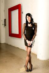 Mesh Dress 5 (Hannah McKnight) Tags: tgirl transgender transgirl model crossdress crossdresser stilettos mesh littleblackdress stockings