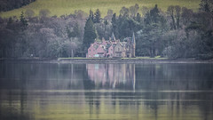 Bunchrew House (prajpix) Tags: firth estuary tidal calm flat reflaection pastel muted sea water moray beauly rosshire trees invernesshire highlands scotland fields land hotel house building victorian pink woods