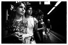 Dreamer (Art de Lux) Tags: hamburg hauptbahnhof centralstation girl people passenger platform street candid blackandwhite bw artdelux deutschland germany mädchen menschen personen passagier bahnsteig schwarzweis sw summilux passengers passagiere sbahn