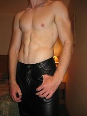 Leather pants (MasterRyanJames) Tags: leather pants malestripper stripper model male abs shiny bulge bigbulge fetish kinky bdsm