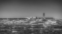 Stormy (Gullivers adventures) Tags: storm blacknwhite ireland dublin sea fog rain pier lighthouse mood water ricks walkway thunder ships dark cold breeze winter eire