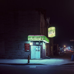 (patrickjoust) Tags: mamiya c330 s sekor 80mm f28 fujichrome t64 tlr twin lens reflex 120 6x6 medium format fuji chrome slide e6 color reversal expired tungsten balanced discontinued film cable release tripod long exposure night after dark manual focus analog mechanical patrick joust patrickjoust east baltimore maryland md usa us united states north america estados unidos urban street city randys new experience bar grill corner store package goods liquor coldestbeerintown illuminated sign formstone