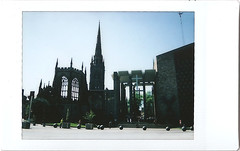 ix - coventry cathedral (johnnytakespictures) Tags: fuji fujifilm instax mini 8 eight instaxmini film fujiinstaxmini instantfilm polaroid analogue 300 expired expiredfilm summer sun sunshine coventry cathedral city religion religious architecture building historic historical