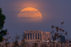 A pale yellow Full Moon rising over the Acropolis of Athens                        Ανατολή Πανσελήνου πάνω απο την Ακρόπολη (belas62) Tags: parthenon athens acropolis moonrise greece fullmoon πανσέληνοσ thephotographersephemeris outdoor architecture building ngc