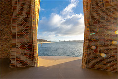 Fjordenhus | Vejle, Denmark (Flemming J. Gade) Tags: art architecture modernarchitecture tiles bricks water clouds sky sunshine lensflare