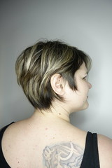 Feathered balayage and sweeping pixie by AJ.