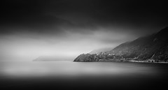 Cinque Terre (LorenzoBPhoto) Tags: italy landscapes sea sunset seascape sunrise seaside water reflection blackandwhite monochrome atmosphere waterscape italia lowkey clouds canon travel fineart sky cityscape dramatic panorama