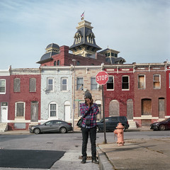 Jerome (patrickjoust) Tags: rolleiflex automat mxevs fujicolor pro 400h tlr twin lens reflex 120 6x6 medium format c41 color negative film manual focus analog mechanical patrick joust patrickjoust baltimore maryland md usa us united states north america estados unidos city jerome freeman photographer camera american brewery building row house home meta portrait
