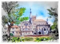 Luso - Portugal - palacio de Buçaco (guymoll) Tags: bussaco luso portugal croquis sketch aquarelle watercolour watercolor aguarela acuarela palacio palace arbres trees arvores buçaco