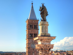 The bell tower and the statues (Digidoc2) Tags: church belltower campanile historic building architecture city urban rome italy clouds santamariamaggiore perspective