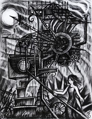 Storytime (Skyler Brown Art) Tags: abandoned angst architecture art artwork bw blackwhite blackandwhite charcoal creepy dark darkness depressing drawing emo emotional gears girl goth gothic greyscale haunted house industrial ink intense macabre moon nature ominous paper pen pencil people sad scary smoke surreal weather