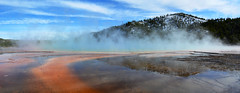 Yellowstone - Grand Prismatic Spring Panorama (Drriss & Marrionn) Tags: travel wyoming usa yellowstonenationalpark nature waterflow rock landscape landscapes geyser geysers steam geology smoke colour water red grandprismatic blue forest tree mountain