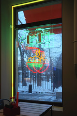 DSCF4630 (Mike Pechyonkin) Tags: 2019 moscow москва cafe кафе crazy noodle table стол bottle бутылка window окно