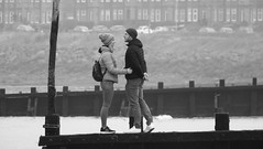 Hold Me (byronv2) Tags: peoplewatching candid street blackandwhite blackwhite bw monochrome portobello edinburgh edimbourg scotland beach sea northsea river riverforth rnbforth firthofforth forth coast coastal shore man woman hug embrace romantic romance