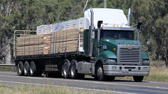 North on the Newell (4/6) (Jungle Jack Movements (ferroequinologist) all righ) Tags: mack trident richers timber de gunst bundaberg western star 4964 ks freighters scania parkes nsw new south wales sydney melbourne brisbane newell highway hp horsepower big rig haul freight cabover trucker drive transport carry delivery lorry hgv wagon road semi trailer deliver cargo interstate articulated vehicle load freighter ship move motor engine power teamster truck tractor prime mover diesel injected driver cab cabin beast wheel exhaust double b grunt australia australian