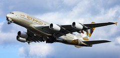 Etihad A380 departing London Heathrow. 19.02.19 (Tim Bullock Photography) Tags: etihad a380 airbus london heathrow aviation plane civil aircraft flying