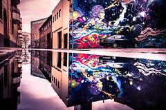 Puddle reflection and mural really does change the city. (Maria Eklind) Tags: change fotosondag art mirror street reflection spegling sweden graffiti streetart mural fs190106 malmö dansapunar förändring vattenpöl forandring fotosöndag lillakvarngatan spaceism gatukonst skånelän sverige se