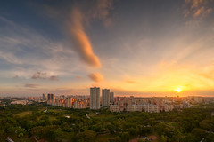 Bishan Town 2019 (Scintt) Tags: singapore state structure building architecture skyline city cityscape hdb housing estate sun sky clouds dramatic surreal epic light glow travel urban exploration skyscrapers construction wideangle scintillation scintt jonchiangphotography apartments flats homes landscape starburst flare clear mist fog haze real residential residences public panorama stitched angmokio vantagepoint bishan park trees art sunset evening dusk realestate 19mmpce nikon