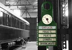 Musée National du Chemin de Fer (hans pohl) Tags: portugal entroncamento musées expositions gares trains signs noiretblanccoloré blackandwhite recoloured