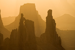 Washer Woman Arch and Monster Tower at Sunrise, Utah (bretedge) Tags: alpenglow bretedge brown canyons cliffs coloradoplateau fourcorners islandinthesky layers mesaarch sandstone southwest sunrise washerwomanarch yellow