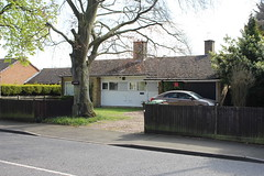 Candleford (doojohn701) Tags: postmodernist 1960s bungalow white building tree vegetation fence car shadow sky sunlight chimneys extractorfan xpelair road driveway windows sidcup uk