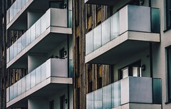 Balconies (Tim Bullock Photography) Tags: architecture photography building grading colour balcony sky wood street urban